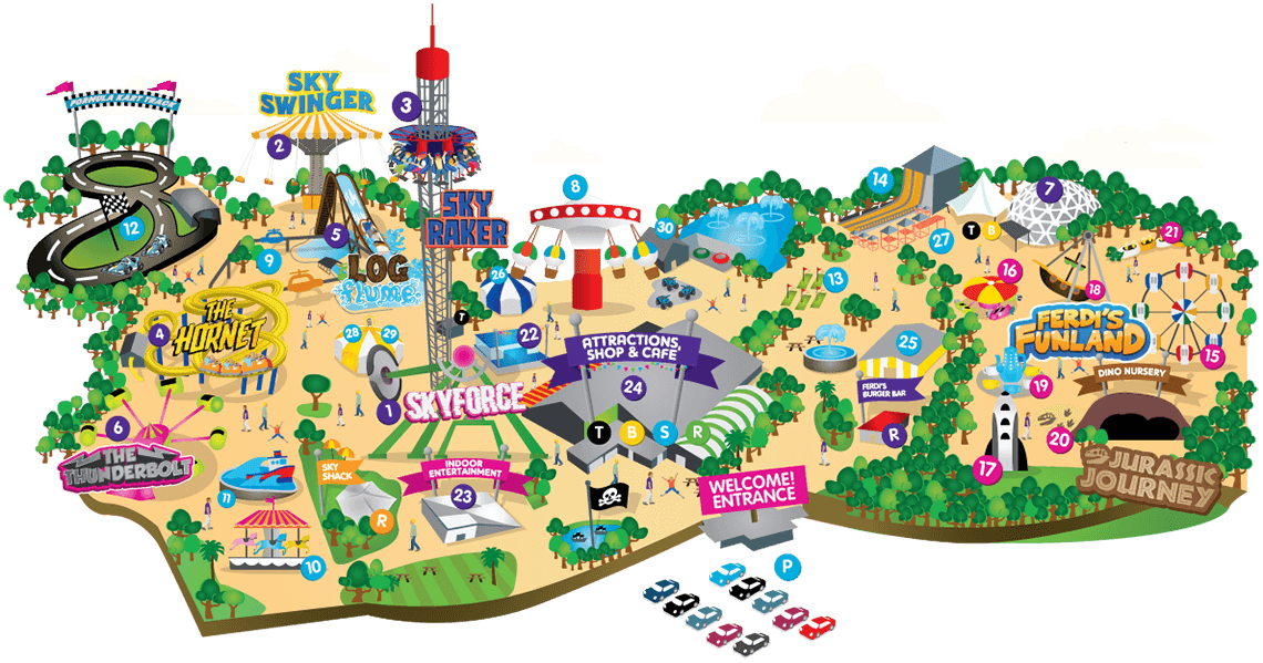 Flambards Theme Park interactive park map, in Helston, Cornwall